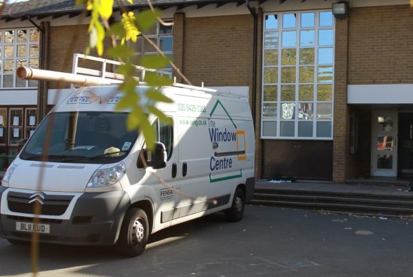 The Window Centre van outside a commercial building