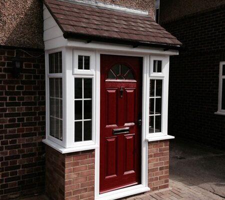 Red porch door
