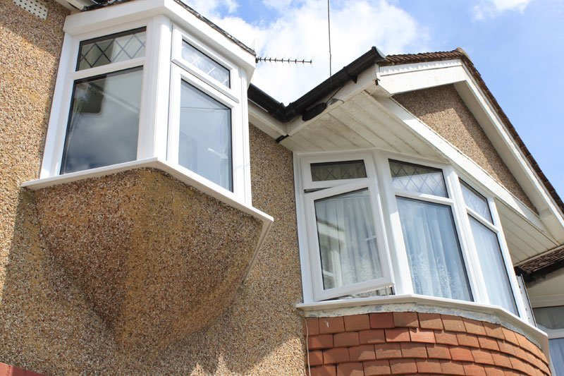 exterior low view of double glazed windows