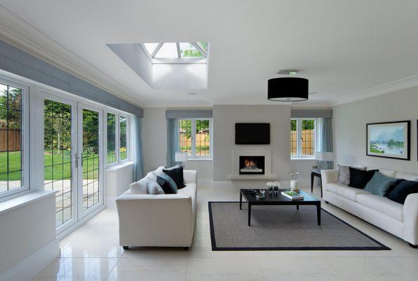 Frameless skylight in a modern living room